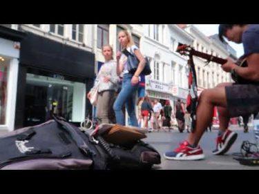ベルギーで「風になる」をソロギターで弾いてみたらお金いくら入る? by  Ghibli Ojisan